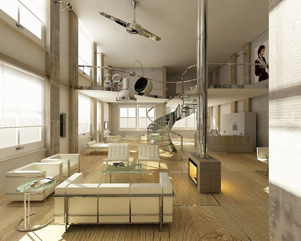 Modern Great Room with White barcelona chair, Hardwood floors, Kichler polished nickel indoor ceiling fan with 2 blades, Loft