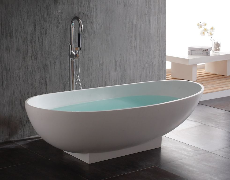 Contemporary Master Bathroom with Waterworks Freestanding Oval Bathtub, Floor mount tub filler, Standard height, Paint 1