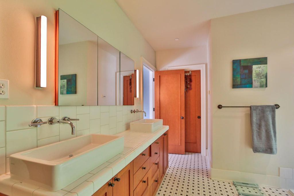 Contemporary Master Bathroom with European Cabinets, Double sink, specialty door, Standard height, Flush, Master bathroom