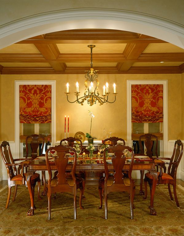 Traditional Dining Room with Casement, Wainscotting, Roman shades, Hardwood floors, Queen anne dining table, Box ceiling