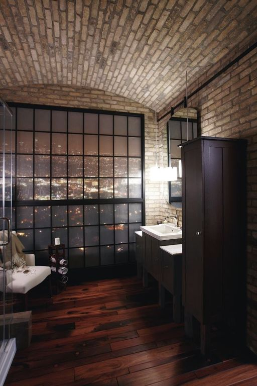 Contemporary Master Bathroom with Shower, Flush, Hardwood floors, Standard height, frameless showerdoor, picture window