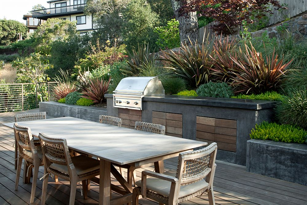 Rustic Patio with Deck Railing, Pathway, Outdoor kitchen, Raised beds