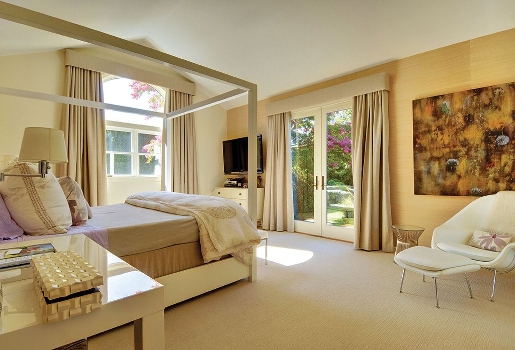Contemporary Master Bedroom with Paint, Vaulted ceiling, Carpet, West elm - parsons mini desk, French doors, Canopy bed