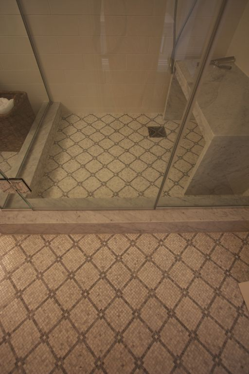 Mediterranean Full Bathroom with Handheld showerhead, ceramic tile floors, Shower, three quarter bath, frameless showerdoor
