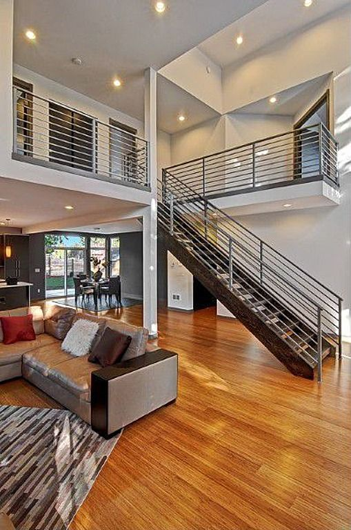 Contemporary Staircase with can lights, Columns, Laminate floors, Standard height, Floating staircase, French doors, Loft