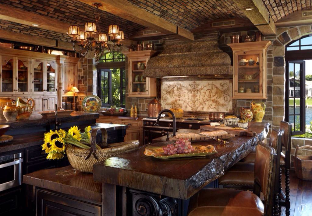 country kitchen with inset cabinets exposed beam