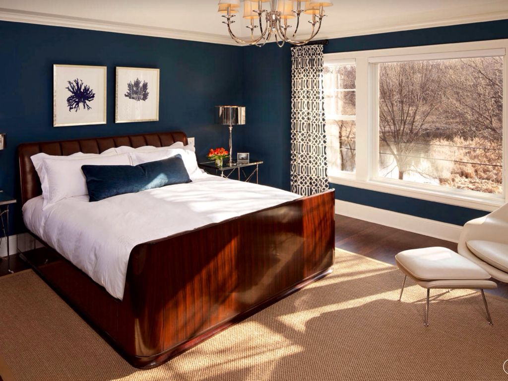 Contemporary Master Bedroom with picture window, Hardwood floors, Crown molding, double-hung window, Standard height