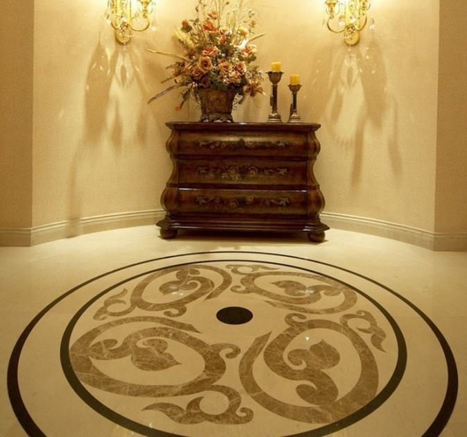 Traditional Entryway with simple marble floors, Wall sconce