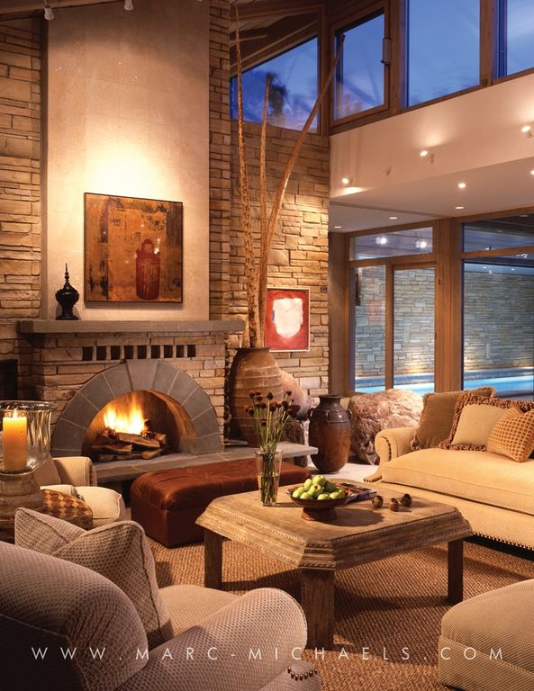 Asian Living Room with can lights, brick fireplace, Carpet, Cathedral ceiling, Casement, Fireplace, sliding glass door