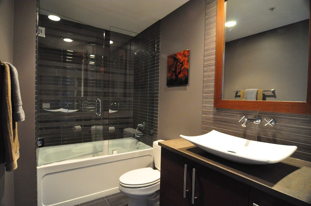 Contemporary Full Bathroom with Full Bath, Jordan 15 in. w x 21.50 in. d x .75 in. h granite countertop in carmello, Flush