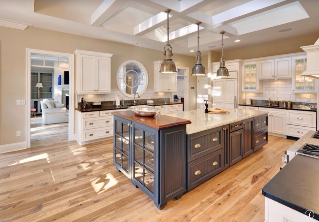 Traditional Kitchen with Subway Tile, Box ceiling, Raised panel, Simple marble counters, Undermount sink, Pendant light
