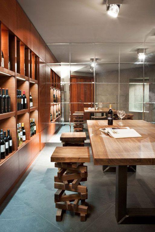 Contemporary Wine Cellar with Standard height, Pendant light, Country mouldings, flat door, Casement, Built-in bookshelf