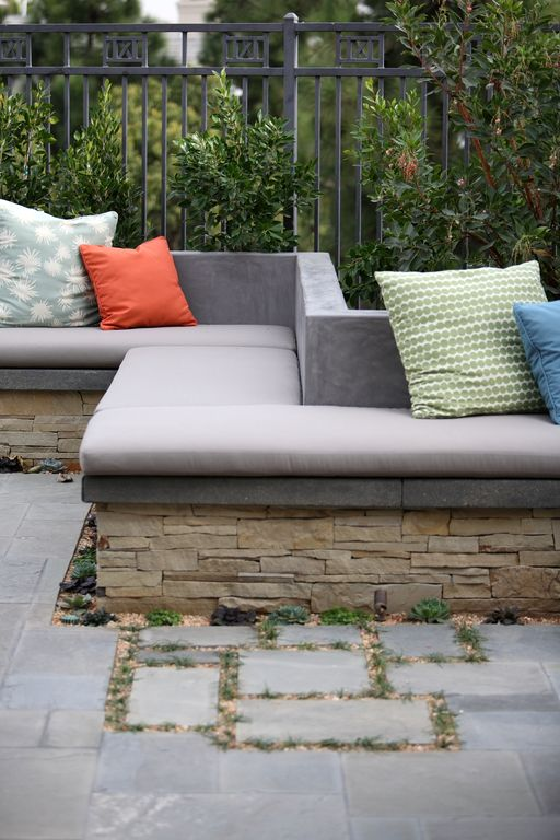 Modern Patio with Pathway, Concrete wall, Stacked stone, Fence, exterior stone floors, Custom seat cushion