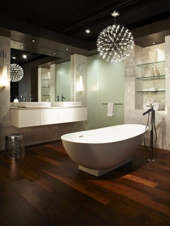 Eclectic Master Bathroom with Bathtub, European Cabinets, Wall sconce, Standard height, Limestone counters, can lights, Flush