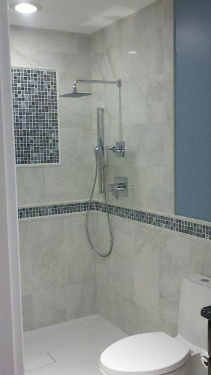 Contemporary 3/4 Bathroom with Shower, Daltile color wave cw 27 winter blues 1x1 mosaic tile, three quarter bath, Wall Tiles