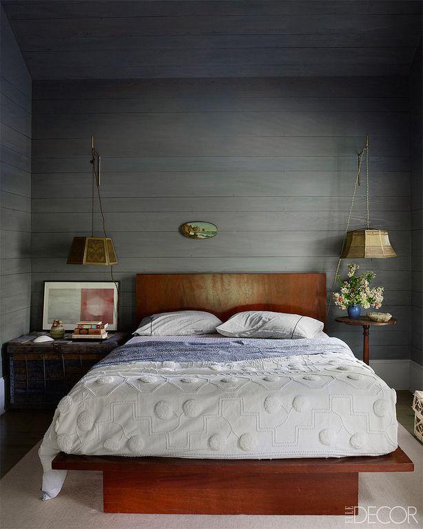 Contemporary Master Bedroom with bedroom reading light, Standard height, Hardwood floors