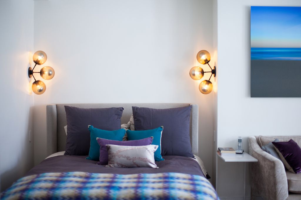 Contemporary Master Bedroom with High ceiling, Wall sconce
