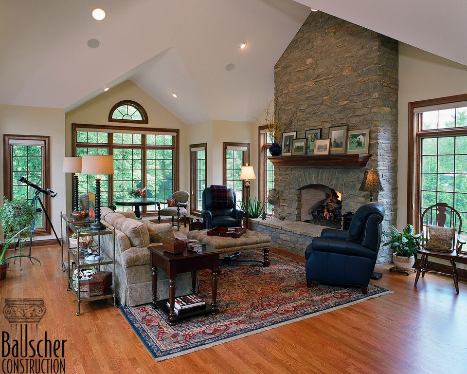 Country Living Room With Narrow Plank Hardwood Floors Hardwood Floors