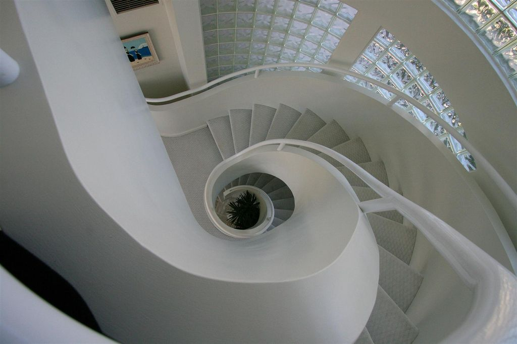 Modern Staircase with Carpet, Paint, Cathedral ceiling, Spiral staircase, Stained glass window