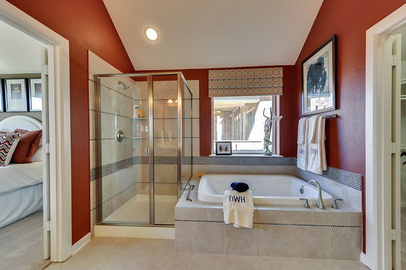 Traditional Master Bathroom with Paint, drop in bathtub, Wall Tiles, Master bathroom, picture window, Shower, can lights