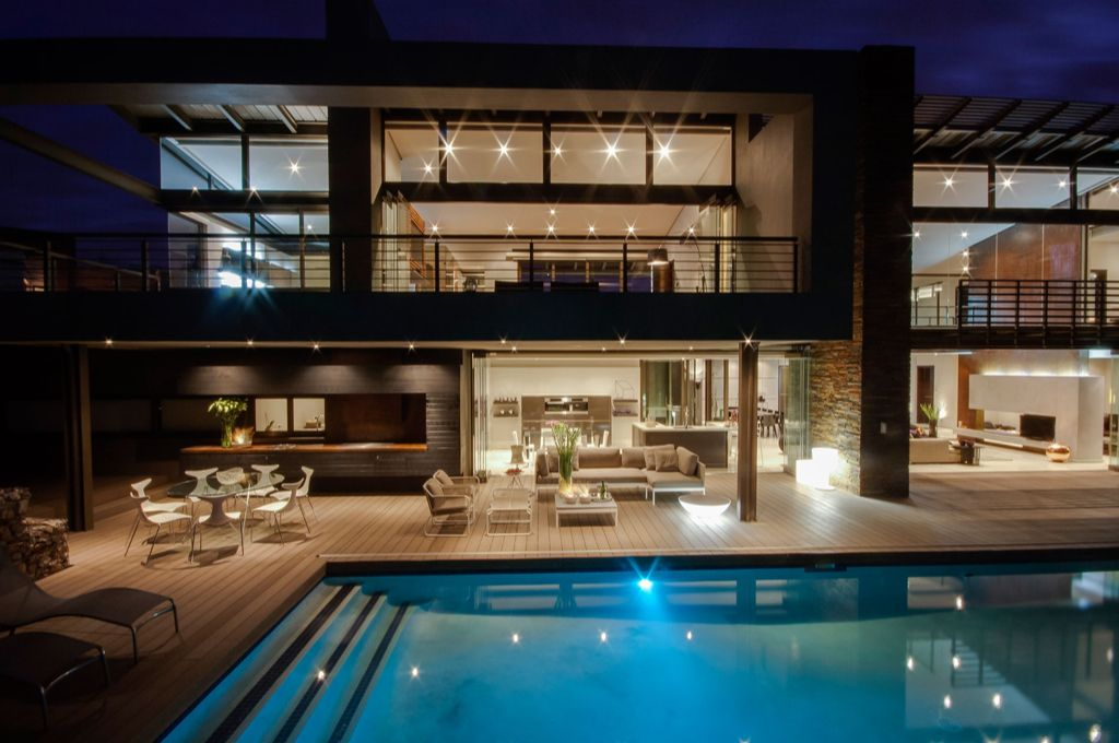 Contemporary Deck with Lap pool, Indoor/outdoor living, Covered patio, French doors, Open concept