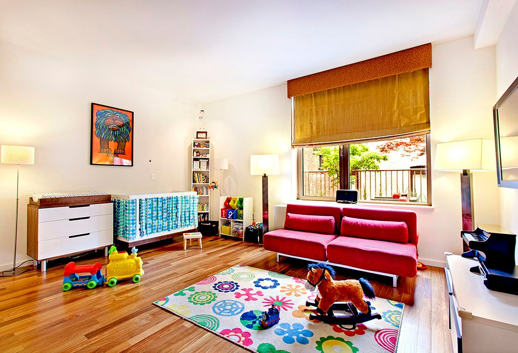Contemporary Playroom with Hardwood floors, Casement, Standard height, Built-in bookshelf