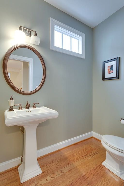 Traditional Powder Room with Standard height, Powder room, wall-mounted above mirror bathroom light, picture window, Paint 1