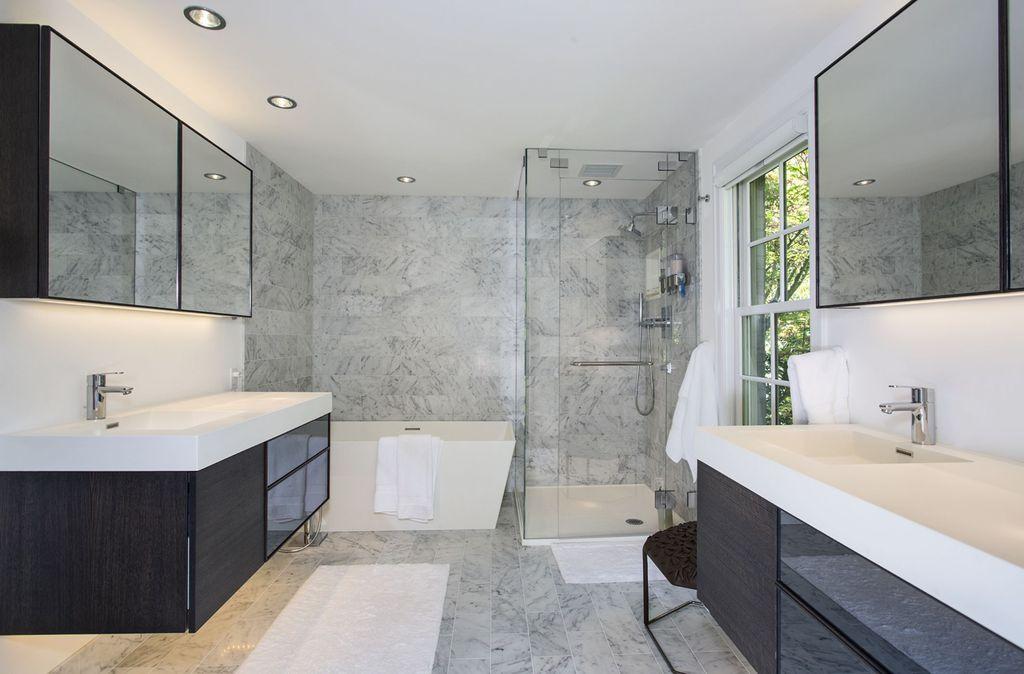 Modern Master Bathroom with Shower, Master bathroom, Glass panel, Corian counters, Bathtub, Flush, double-hung window