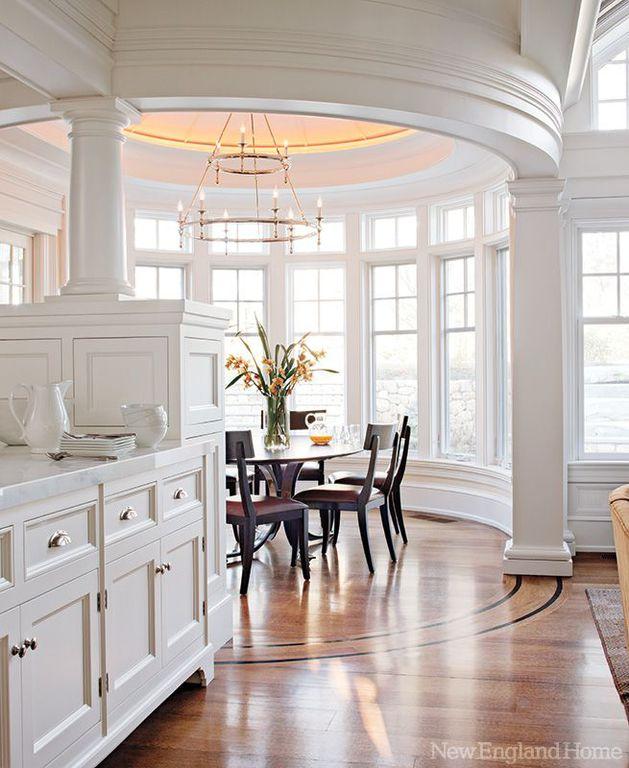 Traditional Dining Room with Casement, Paint, Chandelier, Built-in bookshelf, Hardwood floors, Crown molding, Standard height
