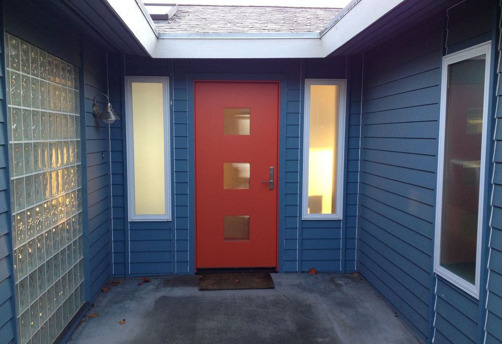 Contemporary Front Door with Stained glass window, Pathway, picture window, Glass panel door