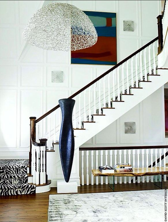 Contemporary Staircase with curved staircase, High ceiling, Pendant light, Loft, Hardwood floors