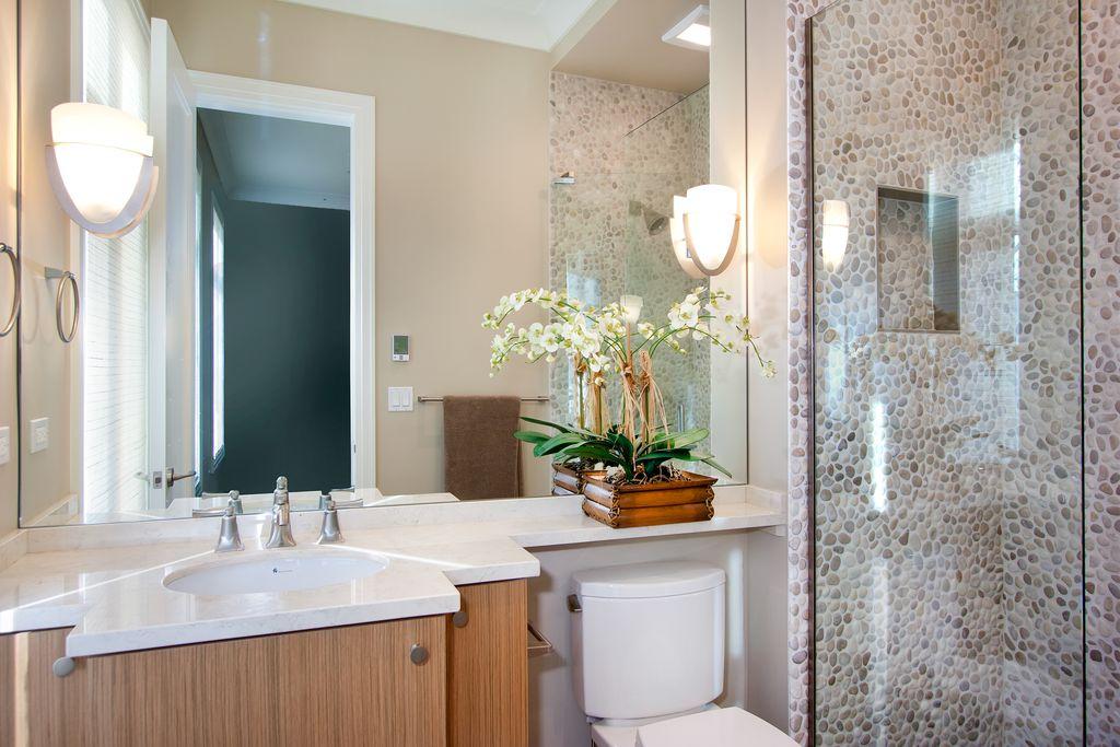 Contemporary 3/4 Bathroom with partial backsplash, flat door, Standard height, flush light, Undermount sink, Shower