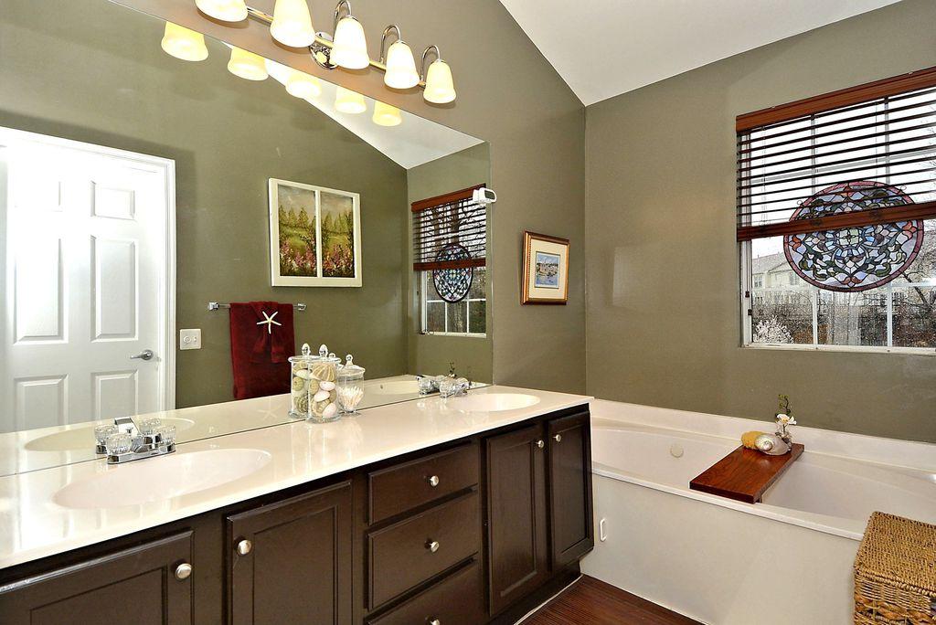 Traditional Full Bathroom with six panel door, Wood blinds, drop in bathtub, Raised panel, Flat panel cabinets, Full Bath
