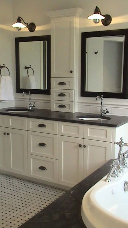 Traditional Master Bathroom with Master bathroom, ceramic tile floors, partial backsplash, Art Effects Beveled Vanity Mirror