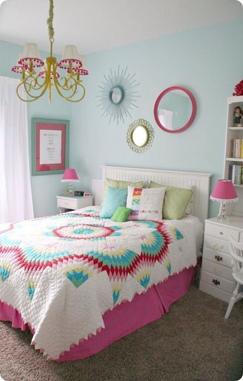 Contemporary Kids Bedroom with Sugar Pink Boutique Cotton Candy Pink Dangling Pom Pom Ball Fringe/Trim, Paint 3, Paint 1