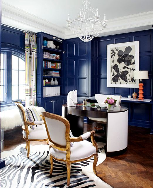 Eclectic Home Office with Saddleman's of Santa Fe Black and Off White Zebra Print Hide Rug, Crown molding, Hardwood floors
