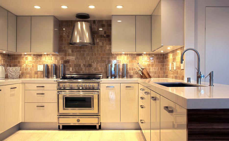 Contemporary Kitchen with Stone Tile, Sandstone Tile, U-shaped, Elica platinum round rangehood (stainless steel, Flush