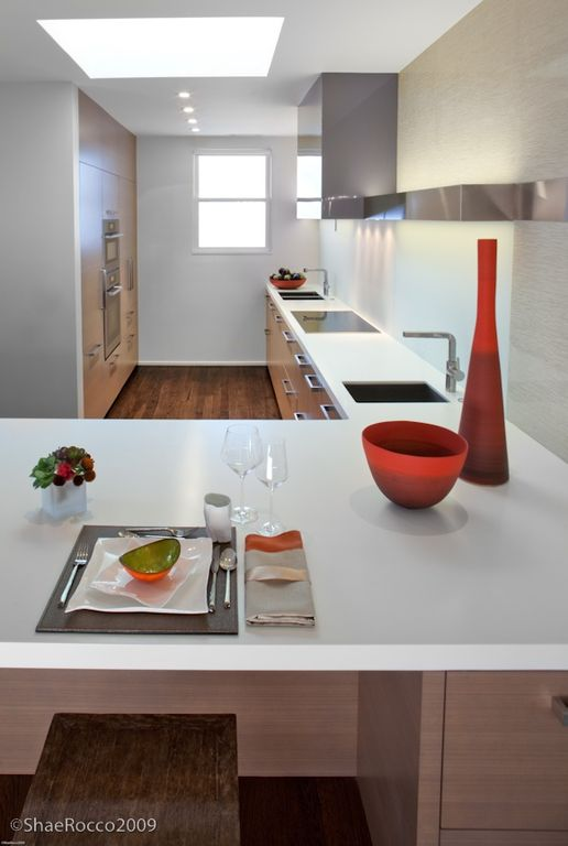 Breakfast Bar, Corian, European, Flush, Galley, Granite - simple, Modern, Normal (2.7m), Skylight, Undermount
