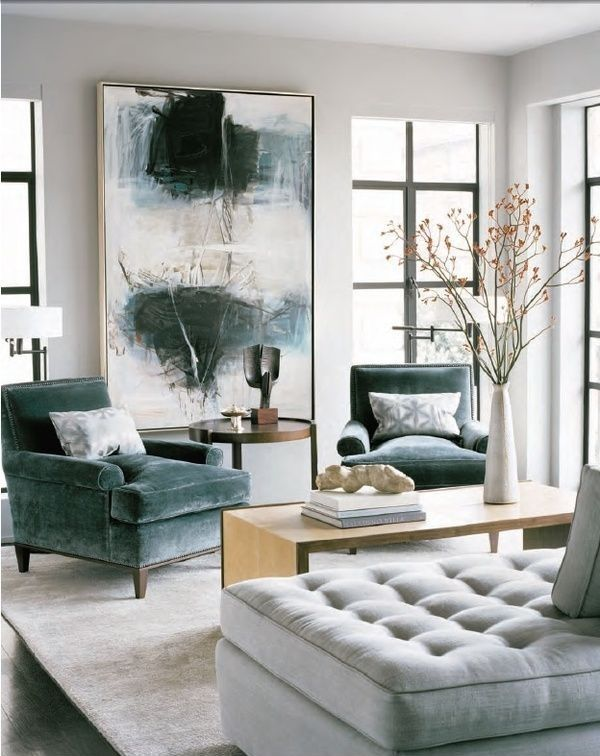 Contemporary Living Room with Tufted chaise, Open angles coffee table, Standard height, Hardwood floors, Casement, Paint