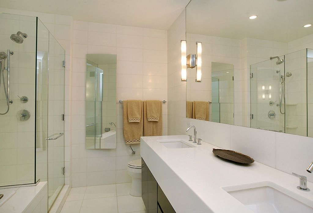 Contemporary Master Bathroom with Shower, large ceramic tile floors, Flush, Handheld showerhead, can lights, Double sink