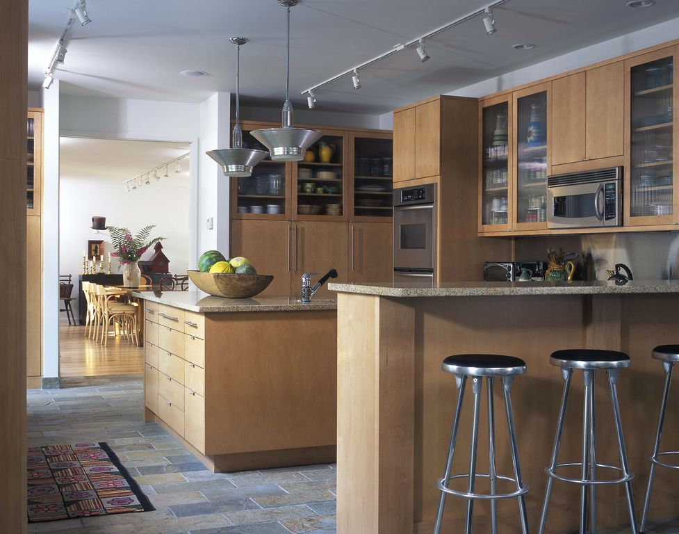 Contemporary Kitchen with built-in microwave, Breakfast bar, quartz tile floors, Standard height, European Cabinets, Flush