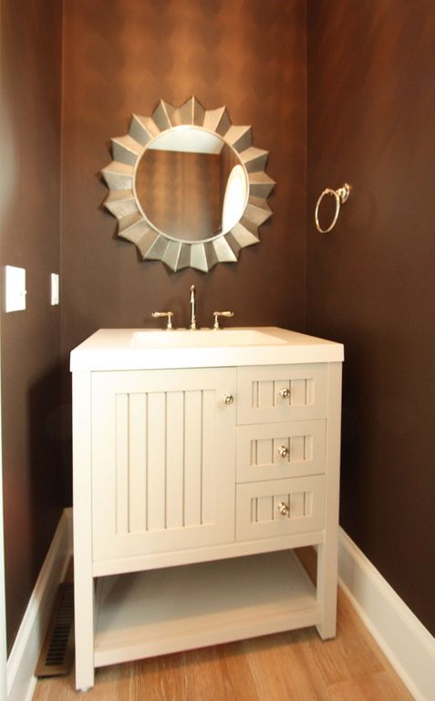 Cottage Powder Room with High ceiling, Powder room, Undermount sink, Paint 2, Corian counters, Flush, Paint 1, Bamboo floors