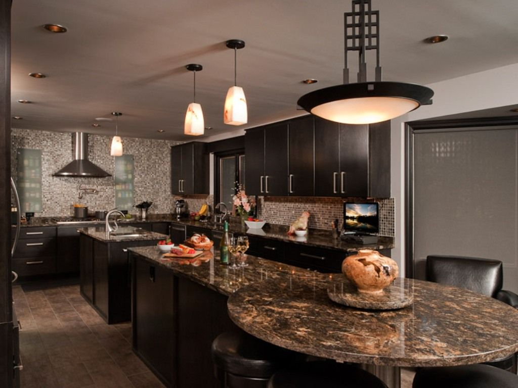 Modern Kitchen with Undermount sink, U-shaped, Complex granite counters, Wall Hood, flush light, Breakfast bar, Flush