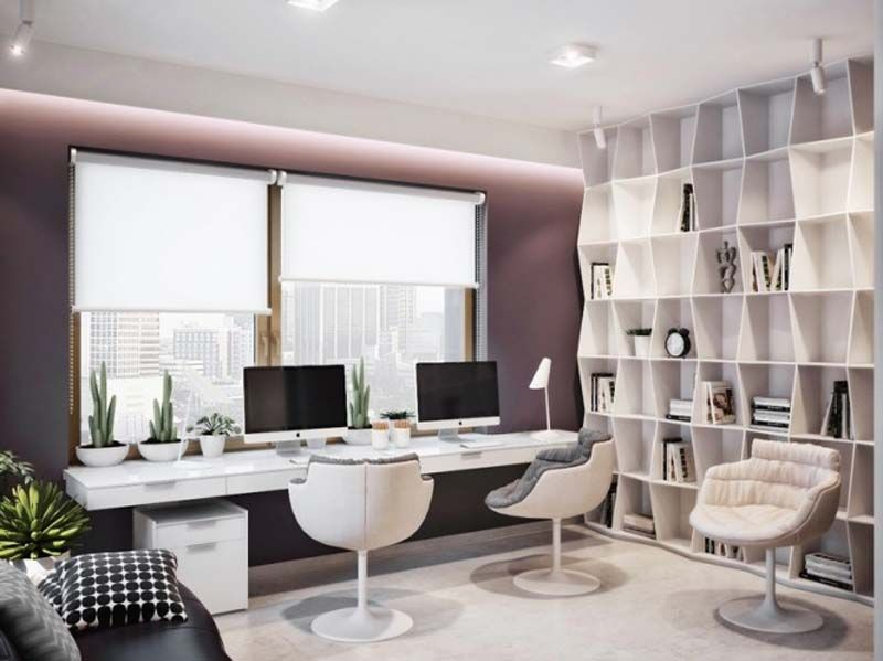 Contemporary Home Office with Standard height, flush light, Paint, Concrete floors, Built-in bookshelf, picture window