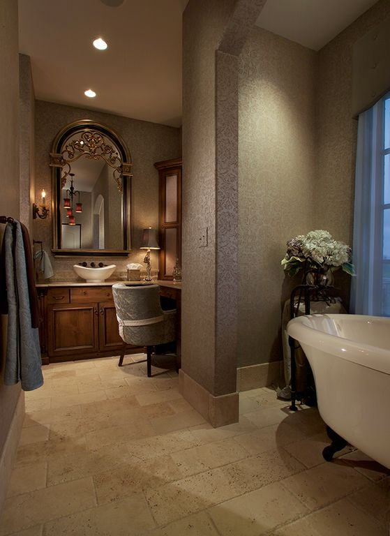 Traditional Master Bedroom with limestone floors, interior wallpaper, Casement, High ceiling, Wall sconce, six panel door