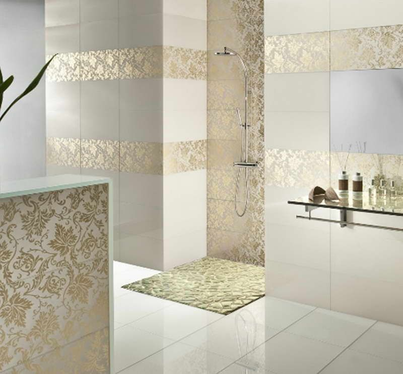 "Modern Master Bathroom with Marmol crema 11,81""x 23,62"" m996, Petroglyphe floral crema 11,81""x23,62"" d981, Standard height"