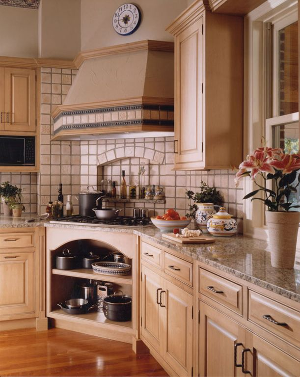 Country Kitchen with Stone Tile, Limestone Tile, Simple granite counters, L-shaped, High ceiling, Raised panel, Custom hood