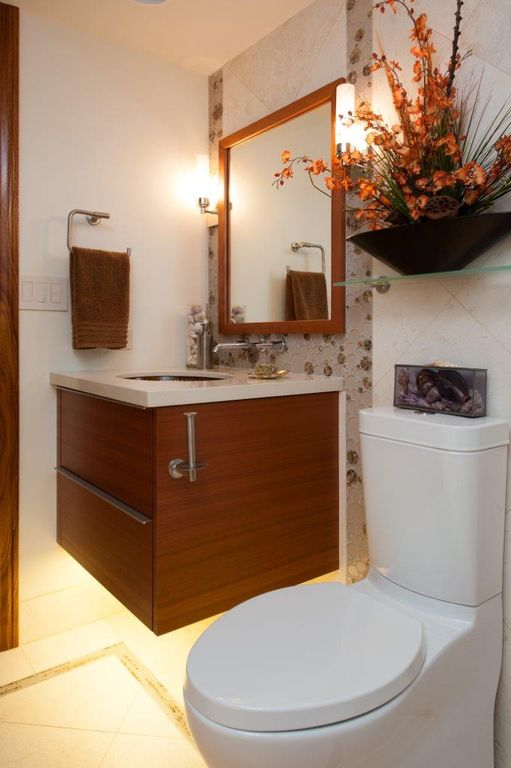 Contemporary Powder Room with Standard height, Powder room, Undermount sink, stone tile floors, Flush, Corian counters