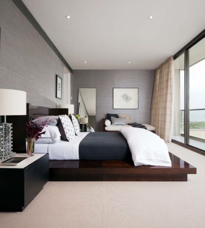 Contemporary Master Bedroom with can lights, Standard height, Carpet, picture window