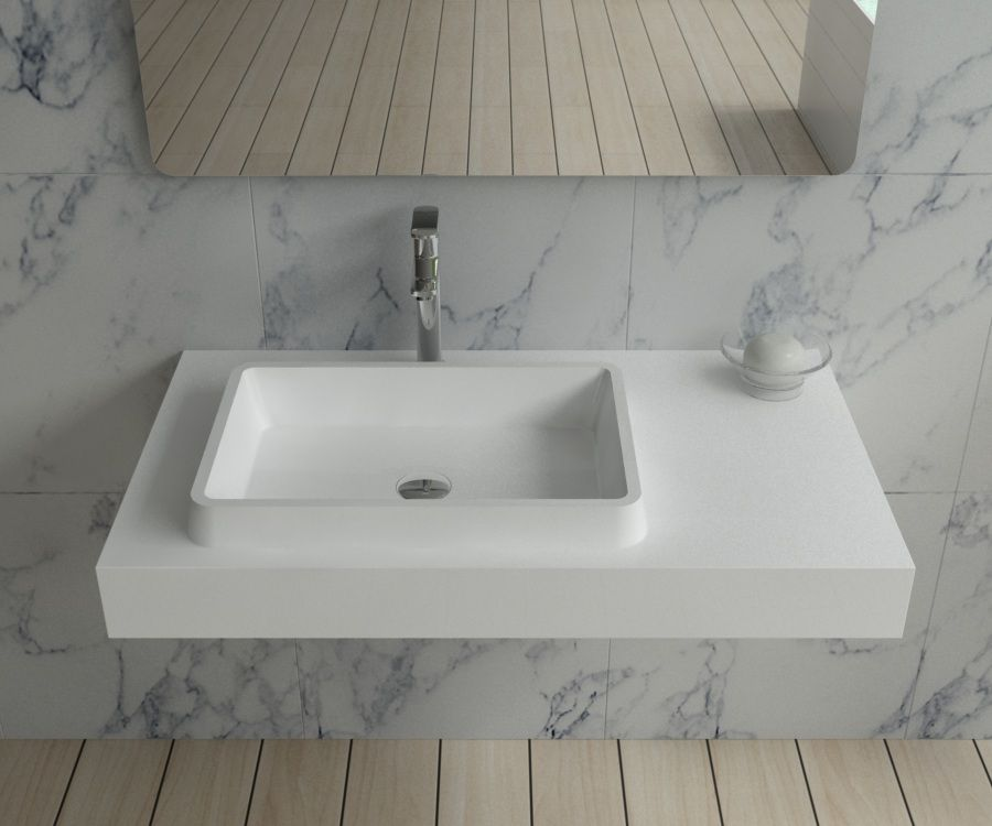 "Contemporary Master Bathroom with Arizona Tile Aequa Nix 12x48"" Porcelain Tile, Hardwood floors, High ceiling, Vessel sink"